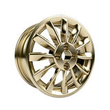 Polished chrome rim wheel on white Royalty Free Stock Photos