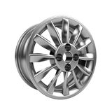 Polished chrome rim wheel on white Stock Photo