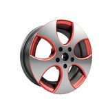 Polished chrome rim wheel on white Royalty Free Stock Photography
