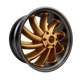 Polished chrome rim wheel on white Stock Image