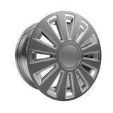 Polished chrome rim wheel on white Stock Photo