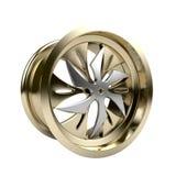 Polished chrome rim wheel on white Stock Photos