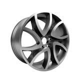 Polished chrome rim wheel on white Royalty Free Stock Photos