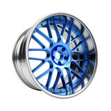 Polished chrome rim wheel on white Stock Photos