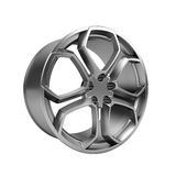 Polished chrome rim wheel on white Stock Images