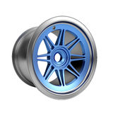 Polished chrome rim wheel on white Stock Image