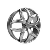 Polished chrome rim wheel on white Stock Photography