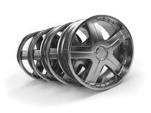 Polished chrome rims wheels. Royalty Free Stock Photography