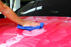 Polished and coating wax car Stock Photography