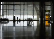 Polished floor of airport terminal Royalty Free Stock Photo