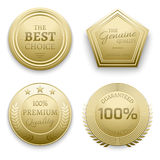 Polished gold metal badges vector illustration. Set of badge gold, metal round badge guarantee Stock Images