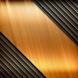 Polished gold metal plate with stripe pattern Royalty Free Stock Photography
