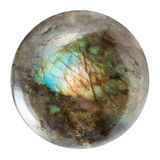 Polished labradorite gem isolated on white Royalty Free Stock Photos