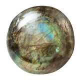 Polished labradorite gemstone isolated. Macro shooting of geological collection mineral - polished labradorite gemstone isolated on white background royalty free stock images