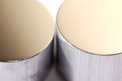 Polished material. Perfectly polished extrusion samples, ready for examination Royalty Free Stock Photography