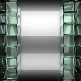 Polished metal background with glass. 3D rendered Royalty Free Stock Photography