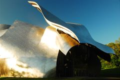Bard College, Fisher Performing Arts Center. The polished metal and curving façade of the Fisher Performing Arts Center are signatures of architect Franck Ghery stock photo