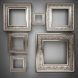Polished metal element on gray background. 3d rendered Stock Photos