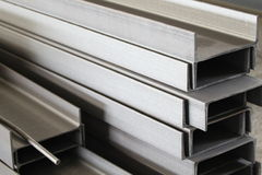 Polished metal profile channel Stock Images