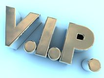 Polished metal VIP logo. A VIP logo made of polished metal on a neutral blue background Stock Photos