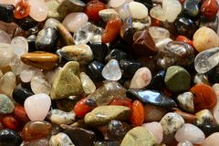 Polished pebbles - semiprecious stones Stock Photos