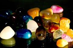 Polished Rock Collection. Dramatic lighting gives this polished rock collection a touch of glamour stock photo