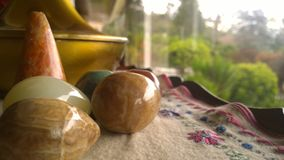 Polished rocks. Six rocks decorating the place Royalty Free Stock Images