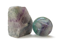 Polished and rough natural specimens of Fluorite banded crystal Stock Photo