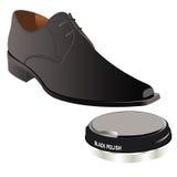 Polished shoe with polish cream Royalty Free Stock Photos