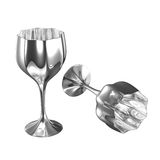 Polished silver stainless steel drink vessel. Isolated reflective metallic silver cup. Shape like wine glass with tall leg and unique design. Additional PNG with stock illustration