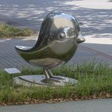 Polished Stainless Steel Bird By Gary Oldham, UTDallas Center For BrainHealth Stock Photography