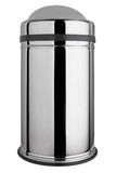 Polished stainless steel trash can with easy swing lid Stock Image