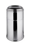 Trash can 45 liters polished stainless steel. Polished stainless steel trash can 45 liters with stainless steel cap, isolated on white background Royalty Free Stock Image