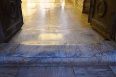 Polished Threshold in The Hagia Sophia Church. Feet Of Polished Threshold in The Hagia Sophia Church. Istanbul, Turkey Stock Photos
