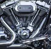 Polished V-Twin motorcycle motor Royalty Free Stock Image