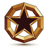 Polished vector template with pentagonal star, 3d Stock Photography