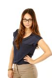 Polished working woman in glasses Stock Photos