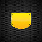 Polished yellow shield style metal plate. Vector Royalty Free Stock Photography