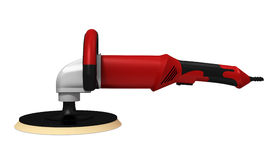 Polisher. The grinding car and abrasive disk on a white background Royalty Free Stock Image