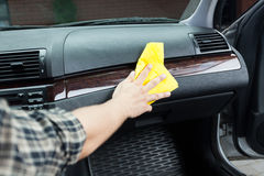 Polishing car from the inside Royalty Free Stock Photography
