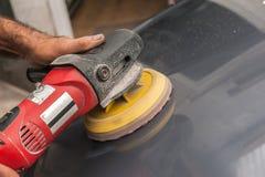 Polishing a car Stock Photo