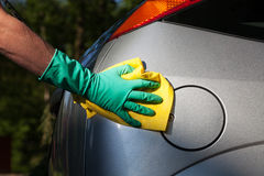 Polishing a car Stock Image