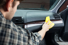 Polishing the dashboard Stock Photo
