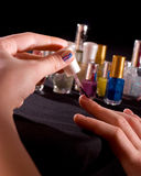Polishing fingernails Stock Photos