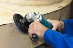 Polishing by grinder process Royalty Free Stock Photography