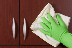 Polishing hand with glove stock images