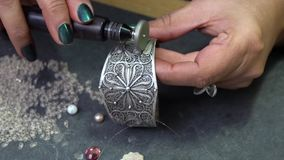 Polishing of jewelry stock footage