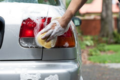 Polishing rear lights Stock Photography
