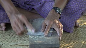 Polishing Wood with Flint Paper Process. Hand Craft. Shot with a Sony a6300 fps29,97 4k stock footage