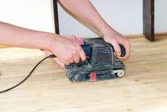Polishing the wood royalty free stock photos